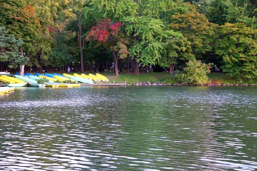 菖蒲池とボート乗り場