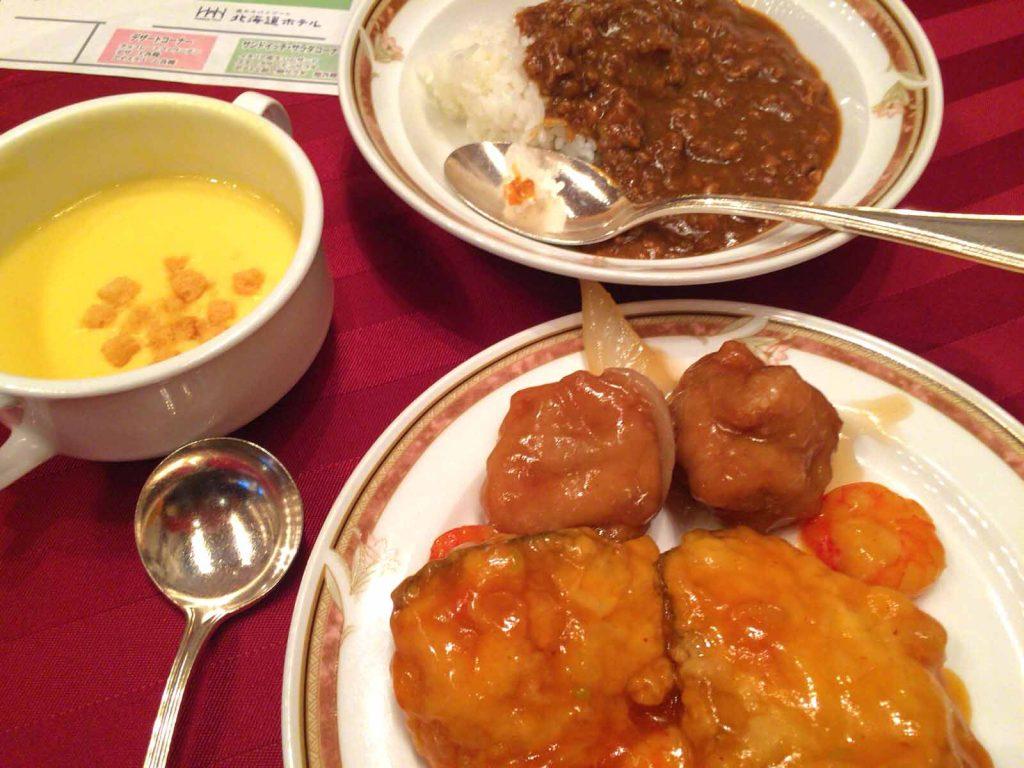 スープ・カレーライス・唐揚げと白身魚の甘酢あん